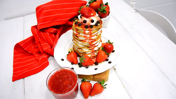 tortitas platano con fresas